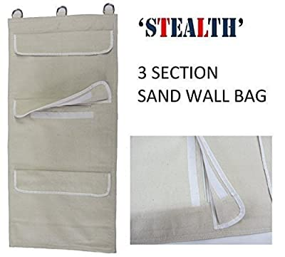 'STEALTH' With Protective Zips Wing Chun Canvas Wall Striking Bag 3 Unit - SHIHAN, New Design With Zipper Protection , Iron Palm. Makiwara Hand Training Sand Wall Bag Canvas Wall Striking Bag 3 Section's Wing Chun Kung Fu Sand Wall Bag with Hanging D-Ring