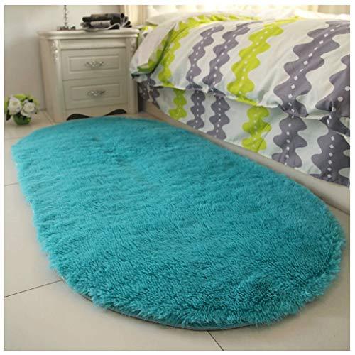 YULAN Teppich Bedside Oval modernen minimalistischen Schlafzimmer Bodenmatte Wohnzimmer Princess (Color : Blue, Size : 80 * 200cm) -