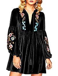 ae4d3feb0bef Aofur Elegant Women s Ladies Boho Velvet Soft Long Swing Tunic Blouse Mini  Dress Embroidery Floral Christmas