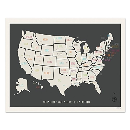 USA Travel Map Art Wand dekotarion, Persönlichen, Kid 's Travel Map USA Karte, Kinder Room Decor, Geschlecht neutral Kinderzimmer, Travel Kinderzimmer Decor, Planokarte 05x07 - Karte Usa-wand-kunst Der