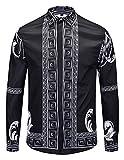 Pizoff Herren Barock Langarm Hemden - mit Palace Luxus Druck Qualle