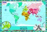 Ma carte du monde pour enfants : 1 poster + 1 planche de stickers repositionnables...