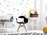 I-love-Wandtattoo WAS-10387 Kinderzimmer Wandsticker Set 'Kreise in modernen Pastellfarben' 50 Stück Punkte zum Kleben Wandtattoo Wandaufkleber Sticker Wanddeko