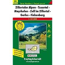 Freytag Berndt Wanderkarten, WK 5152 Zillertaler Alpen - Tuxertal - Mayrhofen - Zell im Zillertal - Gerlos - Finkenberg - Maßstab 1:35.000