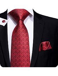 428b9bd4a31 Set Para hombre, formal, de corbata, pañuelo cuadrado y Gemelos, de  cachemira, a Rayas, Floral, 100% Seda,…