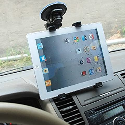 Tablette support voiture, ucmda 360degrés rotation pare-brise voiture Support réglable pour 17,8–25,4cm Tablettes Apple iPad Air/Mini/2/3/4, Samsung Galaxy N8000/Tab 34Pro, Note, Advent, Blackberry Playbook, Asus Transformer, Motorola Xoom, Lenove IdeaPad, Acer Iconia A3-A10, HP TouchPad, Toshiba Thrive