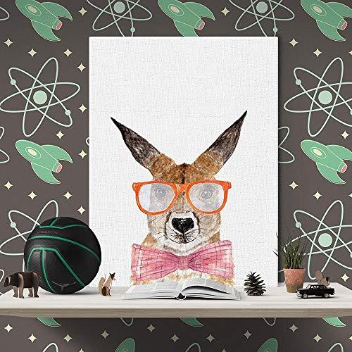 Relddd Home Herz Wandbild Kinder ' S-Animal Cartoon Ölgemälde Tragen Gläser Deer Herr schmücken Frame-freie Umweltfreundliche Leinwand Leinwand Drawin G-Core