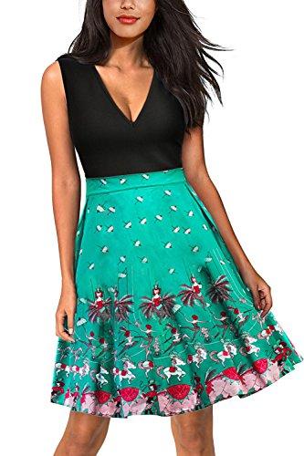 Babyonline® Damen Vintage Sommerkleider Ärmellos Casual Kleid Knielang Elegant Businesse Kleid Skaterkleid Basic Swing A Linie Partykleid Cocktailkleid 7#