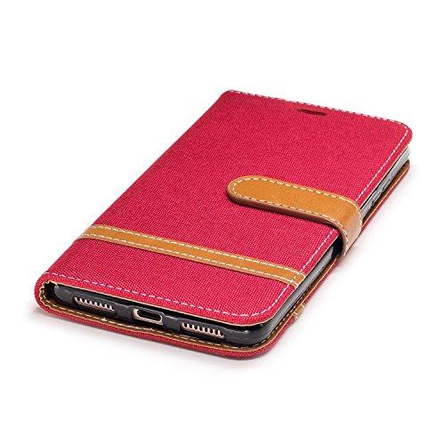 Qiaogle Téléphone Coque - PU Cuir rabat Wallet Housse Case pour Apple iPhone 5 / 5G / 5S / 5SE (4.0 Pouce) - BF08 / Denim (Vert) BF07 / Denim (Rouge)