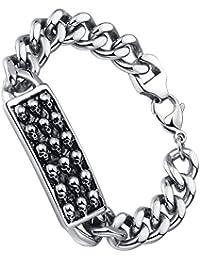 Stainless Steel Men's Biker Gothic Skull Link Bracelet 21.8cm- G6017QY1