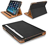 "MOFRED® Black & Tan Apple iPad Air (Launched November 2013) Leather Case-MOFRED®- Executive Multi Function Leather Standby Case for Apple New iPad Air with Built-in magnet for Sleep & Awake Feature -- Independently Voted by ""The Daily Telegraph"" as #1 iPad Air Case!"