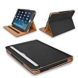 MOFRED? Black & Tan Apple iPad Air-5th Generation (2013 Version) Leather Case-MOFRED?- Executive Multi Function Leather Standby Case for Apple iPad Air with Built-in magnet for Sleep & Awake Feature + Screen Protector + Stylus Pen (Available in Variety of Colors)
