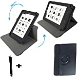 360 Grad drehbar Tasche Für TrekStor eBook Reader Pyrus LED (15,2 cm (6 Zoll) mit Standfunktion + Touch Pen - 6 zoll Schwarz