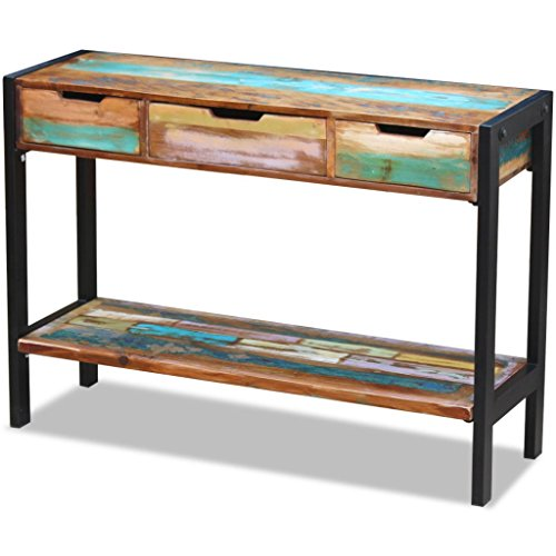 Festnight Solid Reclaimed Wood Console Table 110 x 35 x 78 cm with 3 Drawers for Living Room