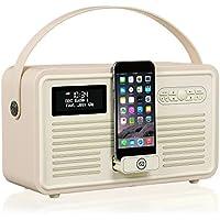 VQ Retro Mk II DAB/DAB+ Digital- und FM-Radio mit Bluetooth, Apple Lightning Dock und Weckfunktion - Cremeweiß