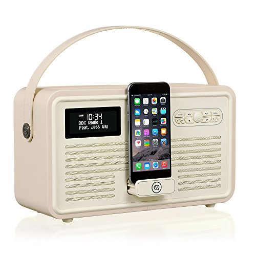 VQ Retro Mk II DAB/DAB+ Digital- und FM-Radio mit Bluetooth, Apple Lightning Dock und Weckfunktion - Cremeweiß (Beste Iphone Radiowecker)