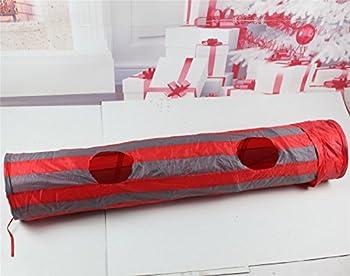 Pawz Road Tunnel Pour Chat Avec 2 Trous 2 Couleurs Jouets chats Rouge-Gris 130 x 25cm