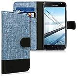 kwmobile Funda para Samsung Galaxy J3 (2017) DUOS - Carcasa de Tela y [Cuero sintético] - con Tapa y [Tarjetero] [Azul/Negro]