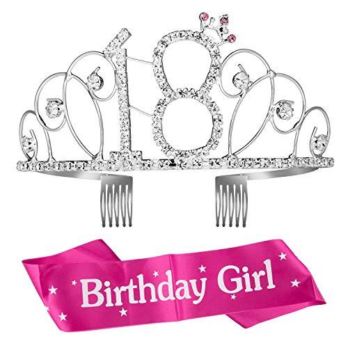 ZOEON Geburtstags-Krone 18. Geburtstags Kristall Tiara Krone mit Geburtstags-Schärpe (Girl Tiara Geburtstag)