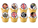 24 x The Royal Wedding Prince Harry and Meghan Markle STAND UP STANDUPS Street Tea Party Celebrations Union Jack UK British Flag Fairy Muffin Cup Cake Toppers Decoration Edible Rice Wafer Paper from Harolds Bakeware