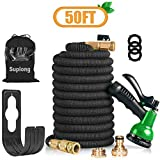 Suplong 50FT 3 Times Expanding Garden Hose Flexible Expandable Magic Hose Pipe with 8 Function Spray Gun Solid Brass Fittings Extra Strength Antileakage Lightweight Easy Storage (50FT)