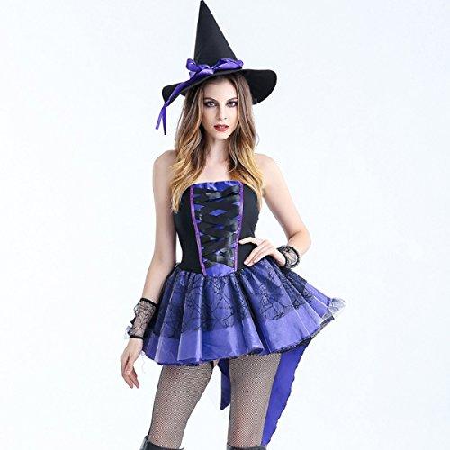 Nihiug Halloween Hexe Kleid Weibliche Student Adult Sexy Hexe Kleid Cos Rolle Spielen Masquerade Catwalk Kleidung Göttin (Sexy Kleid Masquerade)