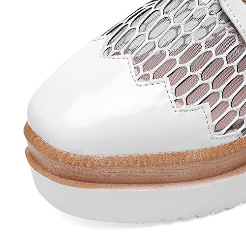 AllhqFashion Damen Pu Schnüren Quadratisch Zehe Mittler Absatz Pumps Schuhe Weiß