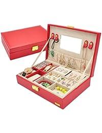 Estilo europeo de madera, cuero, joyero de doble capa, caja de almacenamiento de