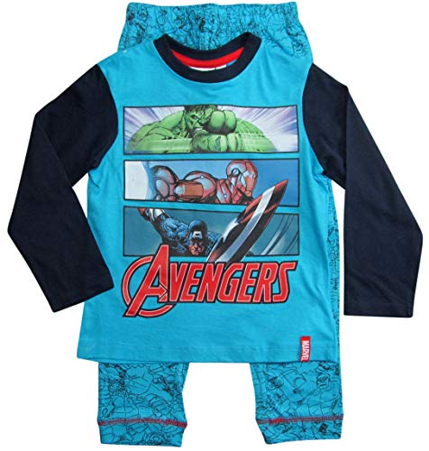 Avengers Schlafanzug Jungen Marvel Rundhalsausschnitt Pyjama (Blau, 140-146)