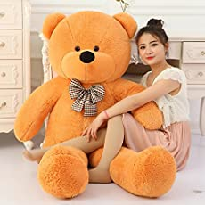 Toyhub 3 Feet Huggable Teddy Bear With Neck Bow (91 Cm,Brown)