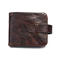 Vintage Casual Cowhide Oil Wax Purse Short Genuine Leather Men Wallet with Coin Pocket (Cross)