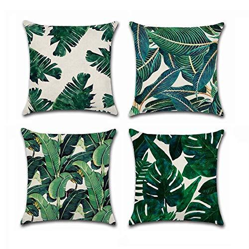 Grünes Dekokissen (BoomTeck 4 Stück Kissenbezüge Dekorative 45 X 45 cm Kissenbezug Home Sofa Dekokissen Quadratische Kissenbezüge Set Tropische Palme grüne Blätter Muster)