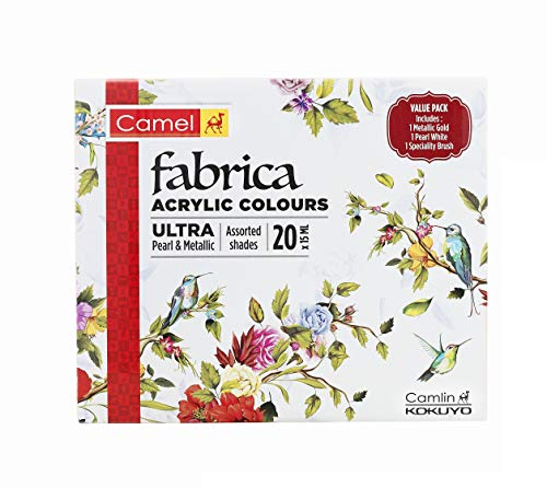 Camel Fabrica Acrylic Ultra Pearl and Metallic Colour Set - Pack of 20 (White)