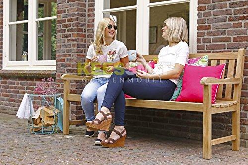 Stabile Gartenbank Sunyard Wales aus massivem, unbehandeltem Holz, Teakholz 3 Sitzer 150 cm - 7