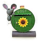 Gall & Zick - Briefkasten grün Maus mit Zeitungsrohr