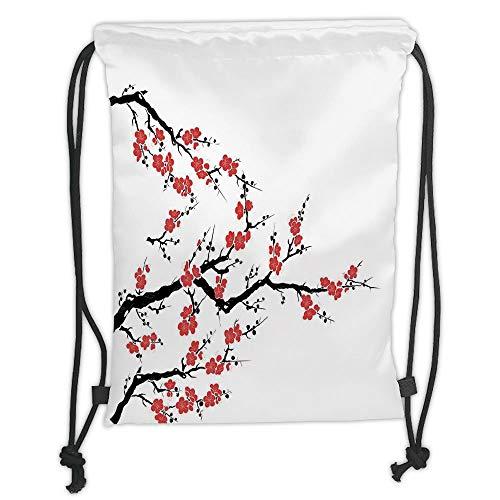 Juzijiang Drawstring Sack Backpacks Bags,Japanese,Simplistic Cherry Blossom Tree Asian Botanic Themed Pattern Fresh Organic Lines Art,Red Black Soft Satin Closu,5 Liter Capacity,Adjustable.