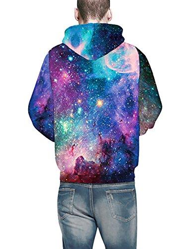 KamiraCoco Herren Pullover Slim Fit Kapuzenpullover 3D Druck Hoodie Weihnachten Langram Sweatshirt Kapuzenjacke Nachthimmel