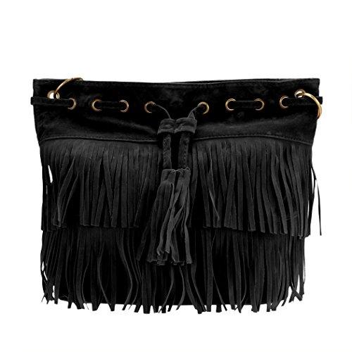 Frauen Handtasche - All4you Umhängetasche Handtaschen mit Fransen-Quasten für Ladies(Black) (Schulter Drucken Unterschrift Tasche)