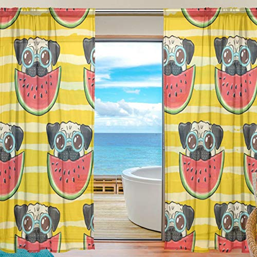QMIN Vorhang aus Mexikanischem Sugar Skull Halloween Fenster Tüll Voile Vorhang Vorhang für Tür Wand Schlafzimmer Wohnzimmer Küche 139,7 x 198 cm 2 Paneele, Voile Polyester Textil, Multi, 55x84x2(in)