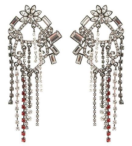 Zest Swarovski Crystal Flower Top Ornate Chandelier Pierced Earrings Silver