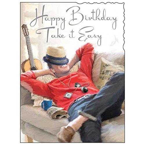 Male birthday card amazon greeting card jj1879 male birthday take it easy bookmarktalkfo Images