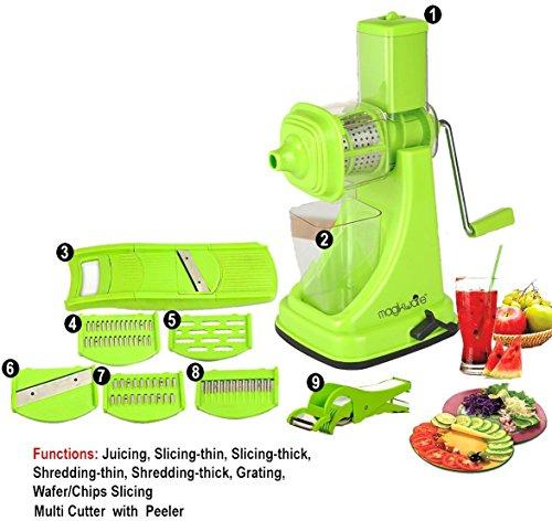 Magikware Plastic Juicer, Slicer, Cutter (Green) Combo Set of 9