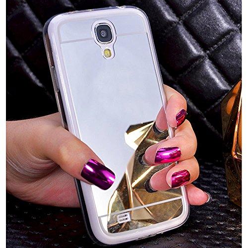 Sycode Moda Specchio Riflessione Morbida Bumper Ultra Sottile TPU Custodia Copertura Mirror Caso per Samsung Galaxy S4-Argento