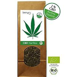 berryz CBD Hanf Tee BIO ÖKO + CBD Gehalt 2% THC < 0,2% + Hoher Blüten / Knospen Anteil + 50g + Cannabis Sativa + Versandkostenfrei ab 20€ +
