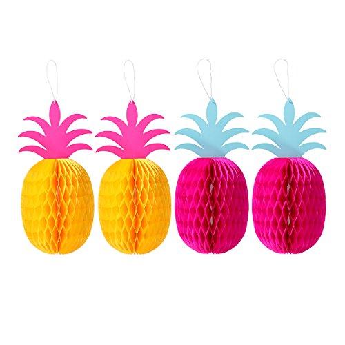 BESTOYARD Ananas Mittelstücke Hängen Dekoration Wabengewebe für Tropische Sumemr Luau Hawaiian Party Dekorationen (Rot und Gelb)
