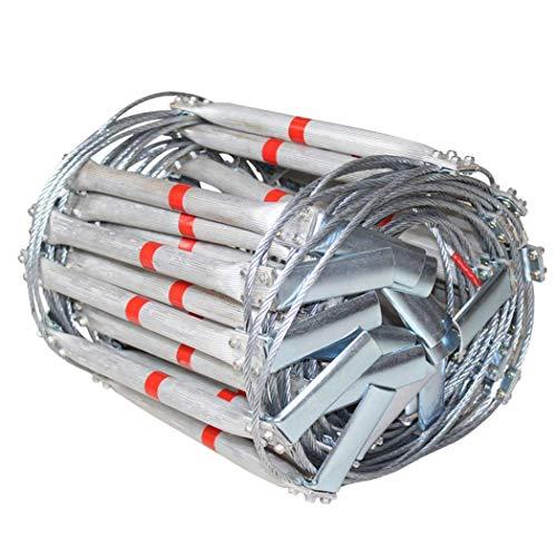 FIREDUXYL Notleiter, Faltbare weiche Leitern aus Aluminiumlegiertem Stahldraht für Fluchtrettung, Arbeiten in der Höhe, Brandschutz,5m