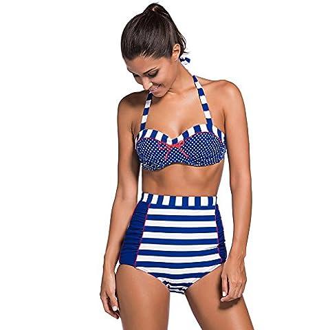 Erica Bikinis pour dames - Vintage Polka Dots - Impression Deux Pieces Set - Maillot de Bain Push Up - Underwire , blue , xxl