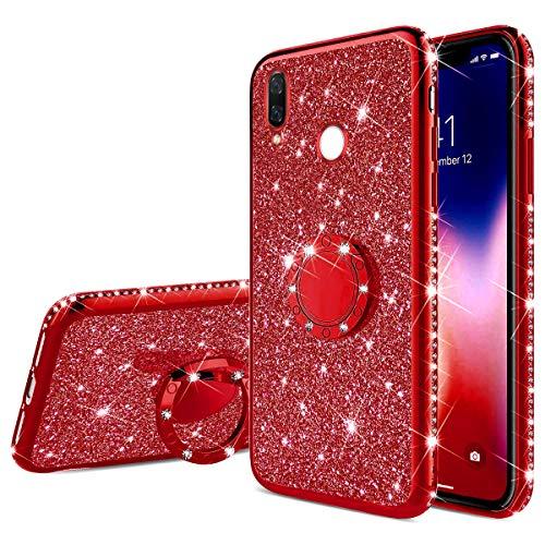 Uposao Kompatibel mit Xiaomi Redmi Note 7 Glitzer Handyhülle mit Ring Ständer Halter Kristall Bling Strass Diamant TPU Silikon Hülle Case Tasche Cover Transparent Handytasche,Rot