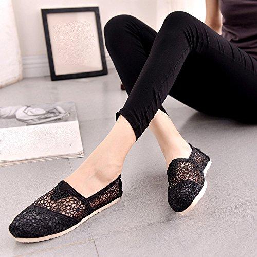 Longra Donna Scarpe di tela da donna, scarpe da sole piatta, scarpe basse Nero