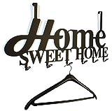 steelprint.de Türgarderobe, Flurgarderobe Home Sweet Home Design 58 cm, 6 Haken Metall (schwarz) Hakenleiste, Garderobenleiste, Garderobenhalter, Kleiderhaken, Garderobe
